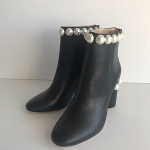 Katy Perry Opearl Black Leather Ankle Boots NEW